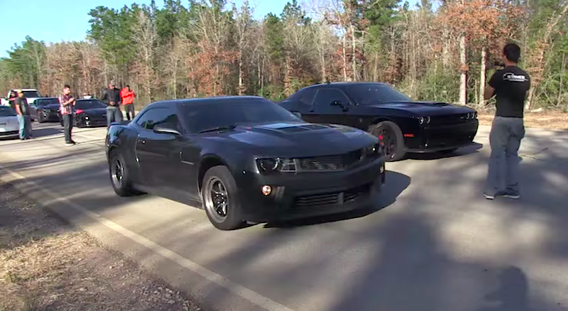 707 Hp Hellcat Races Camaro Zl1 Welcome All Rivals Vettetv