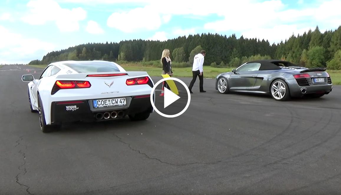 Corvette Stingray Z51 And Audi R8 V10 Race Each Other For