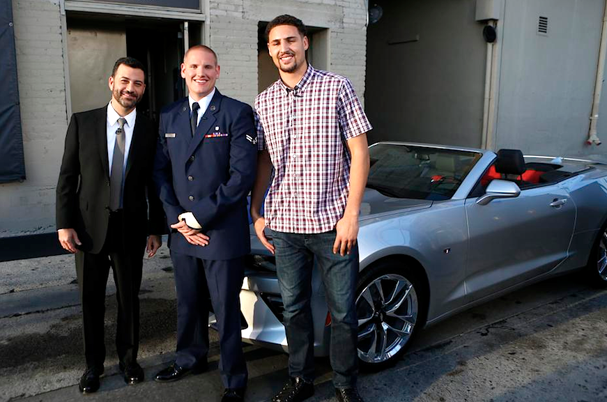 Klay Thompson And Jimmy Kimmel Gift New Camaro To Airman