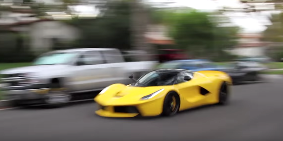 Ferrari LaFerrari NEAR CRASH, BURNOUT, REVVING & SMOKING in a Neighborhood?