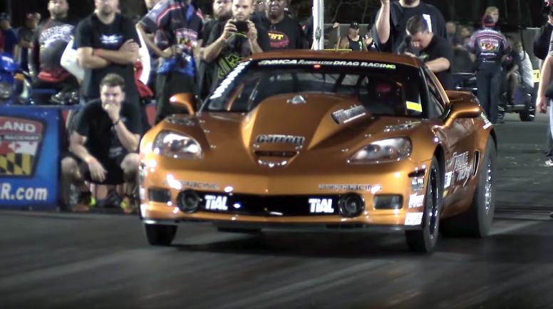 Six Second Corvette Pulls Wheelies Halfway Down The Strip