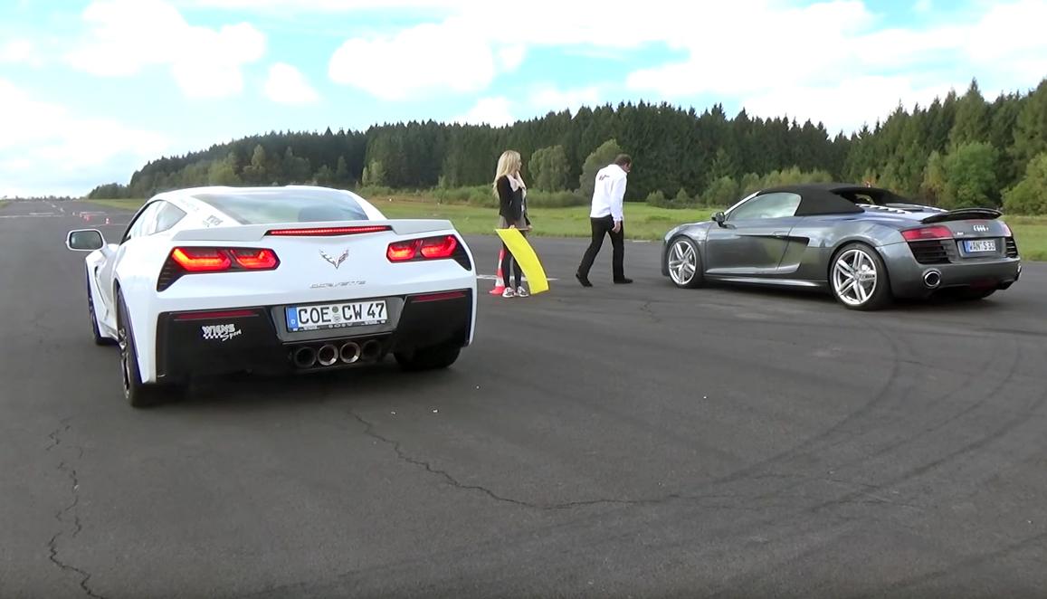 Chevrolet Corvette Stingray Z51 VS Audi R8 V10 TFSI - Drag Race